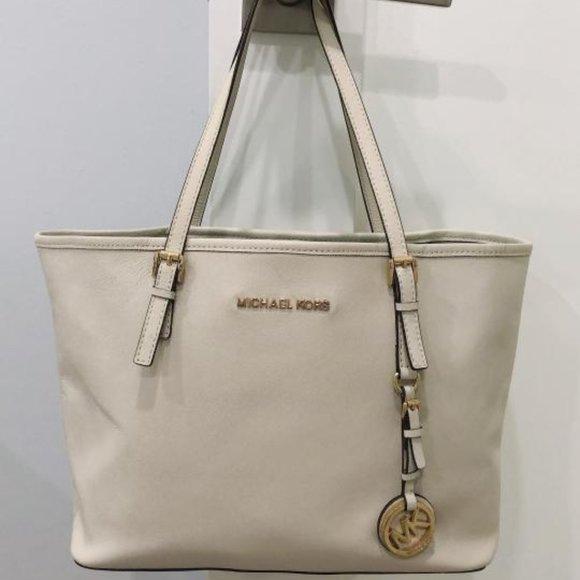 Michael Kors Bag Jet Set Ivory Leather Tote Bag